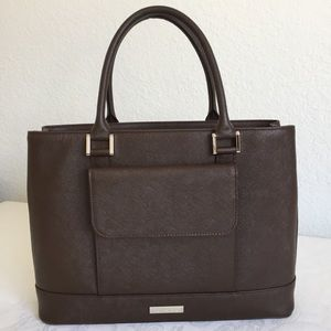Burberry front pocket brown Saffiano leather bag